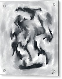 The Witch With Her Crows Charcoal Wash Acrylic Print by Sir Josef - Social Critic - ART