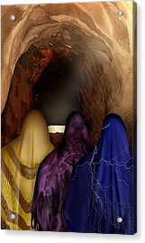 The Women At The Empty Tomb - He Lives Acrylic Print by Julie Rodriguez Jones