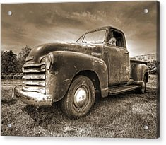 The Workhorse In Sepia - 1953 Chevy Truck Acrylic Print by Gill Billington