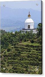 The World Peace Pagoda Pokhara Acrylic Print by Robert Preston