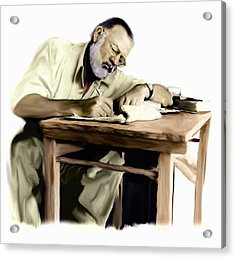 The Writer  Ernest Hemingway Acrylic Print by Iconic Images Art Gallery David Pucciarelli