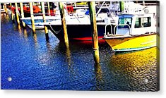 The Yellow Boat - Coastal Art By Sharon Cummings Acrylic Print by Sharon Cummings