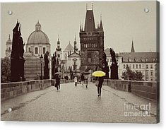 The Yellow Umbrella Acrylic Print by Ivy Ho