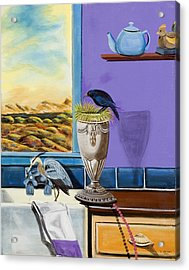 There Are Birds In The Kitchen Sink Acrylic Print by Susan Culver