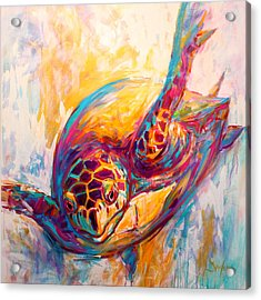There's More Than Just Fish In The Sea - Sea Turtle Art Acrylic Print by Savlen Art