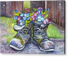 These Boots Were Made For Planting Acrylic Print by Carol Wisniewski