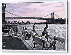 They Gathered At The Williamsburg Bridge - Brooklyn - New York Acrylic Print by Madeline Ellis