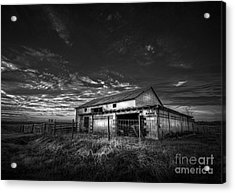 This Old Barn-b/w Acrylic Print by Marvin Spates