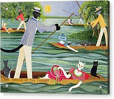 Those Summer Punts Oil On Canvas Acrylic Print by Pat Scott