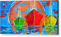Three Boats Sailing In The Ocean Acrylic Print by Patricia Awapara