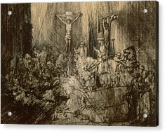 Three Crucifixes Acrylic Print by Rembrandt Harmenszoon van Rijn