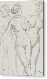 Three Graces Study  Acrylic Print by Felix Edouard Vallotton