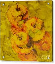 Three Green Apples Modern Art Acrylic Print by Patricia Awapara