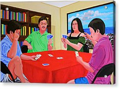 Three Men And A Lady Playing Cards Acrylic Print by Cyril Maza