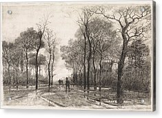 Three People On A Road Lined With Trees, Elias Stark Acrylic Print by Elias Stark