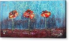 Three Poppies Acrylic Print by Shadia Zayed
