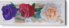 Three Roses Acrylic Print by Michael Hall