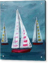 Three Sailboats Acrylic Print by Linda Woods