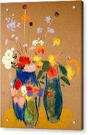 Three Vases Of Flowers Acrylic Print by Odilon Redon