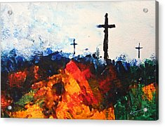 Three Wooden Crosses Acrylic Print by Kume Bryant