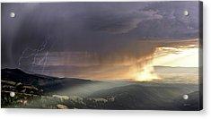 Thunder Shower And Lightning Over Teton Valley Acrylic Print by Leland D Howard