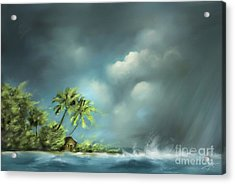 Landscapes Acrylic Print featuring the painting Thunderstorm At Jupiter Beach by Susi Galloway