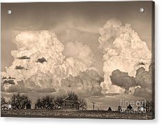 Thunderstorm Clouds And The Little House On The Prairie Sepia Acrylic Print by James BO  Insogna