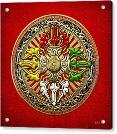 Tibetan Double Dorje Mandala - Double Vajra On Red Leather Acrylic Print by Serge Averbukh