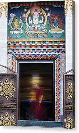 Tibetan Monk And The Prayer Wheel Acrylic Print by Tim Gainey
