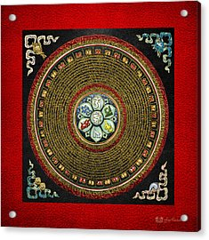 Tibetan Om Mantra Mandala In Gold On Black And Red Acrylic Print by Serge Averbukh