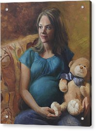 Tiffany Expecting Acrylic Print by Anna Rose Bain
