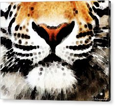 Tiger Art - Burning Bright Acrylic Print by Sharon Cummings