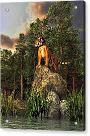 Tiger By The Lake Acrylic Print by Daniel Eskridge
