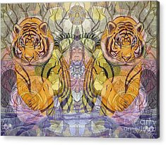 Tiger Spirits In The Garden Of The Buddha Acrylic Print by Joseph J Stevens
