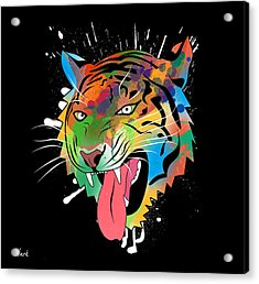 Tiger Vector  Acrylic Print by Mark Ashkenazi