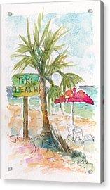 Tiki Beach Grand Cayman Acrylic Print by Pat Katz