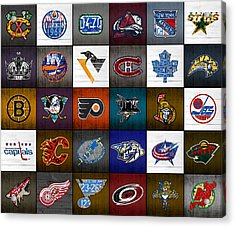 Time To Lace Up The Skates Recycled Vintage Hockey League Team Logos License Plate Art Acrylic Print by Design Turnpike
