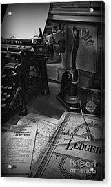 Time To Pay Your Taxes Black And White Acrylic Print by Paul Ward