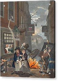 Times Of Day, Night, Illustration Acrylic Print by William Hogarth