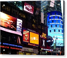 Times Square At Night New York City Acrylic Print by Robert Ford