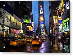 Times Square In The Rain Acrylic Print by Garry Gay