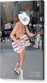 Times Square Naked Cowboy Acrylic Print by John Telfer