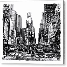 Times Square   New York City Acrylic Print by Iconic Images Art Gallery David Pucciarelli