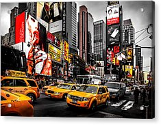 Times Square Taxis Acrylic Print by Az Jackson