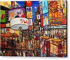Times Square With Lion King Acrylic Print by Arthur Robins
