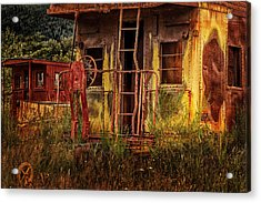 Tired Caboose Acrylic Print by Mary Jo Allen