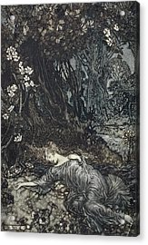 Titania Lying Asleep, Illustration Acrylic Print by Arthur Rackham