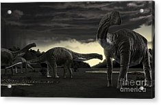 Titanosaurs In The First Storm Acrylic Print by Rodolfo Nogueira