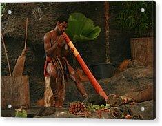 Tjapukai Playing The Didgeridoo Acrylic Print by Cecelia Helwig