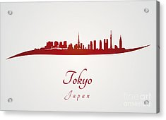 Tokyo Skyline In Red Acrylic Print by Pablo Romero
